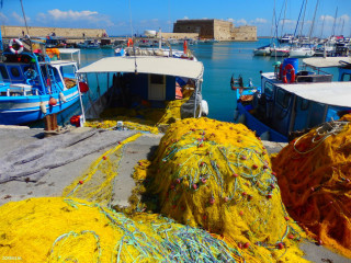 Fishing-boats-in-the-harbor-of-Crete